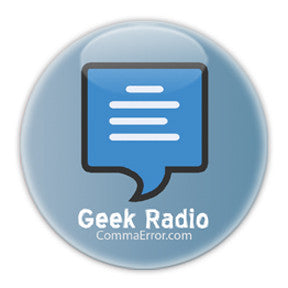 Comma Error is Geek Radio. Blue Logo Buttons on People Power Press
