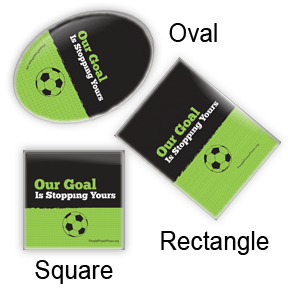 soccer button design, oval rectangular and square