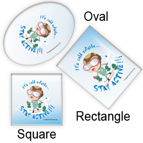 skiing square, oval, rectangle button designs