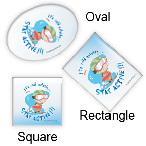 Slallom Skiing Sports Button Designs for magnets oval shape, rectangular, and square design
