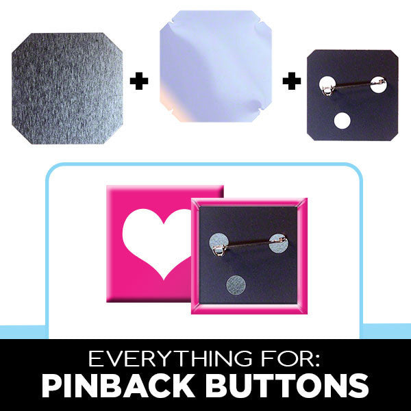 1.5 x 1.5 inch square pinback button supplies