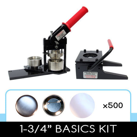 1-3/4 inch button maker, graphic paper punch cutter and 500 button parts