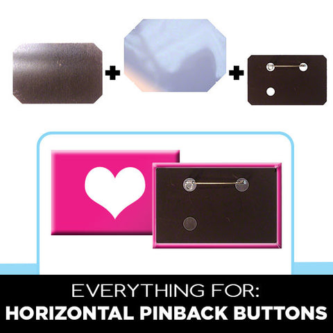 Supplies for horizontal rectangle pinback buttons