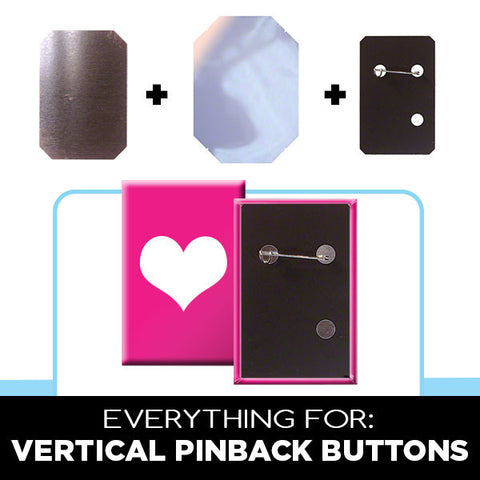 Supplies for vertical rectangle pinback buttons
