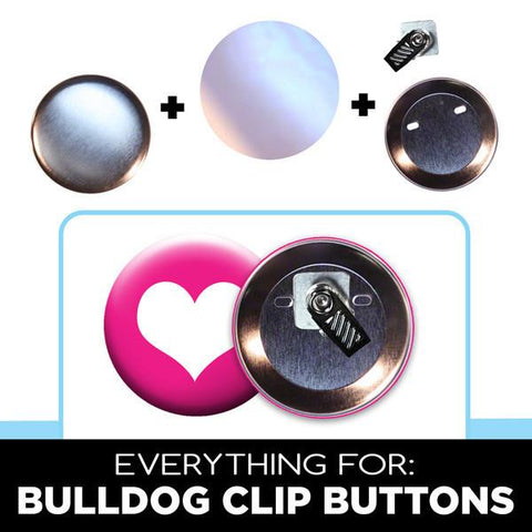 "2-1/4"" bull dog clip buttons and name tags parts"
