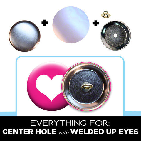 2-1/4 inch center hole button parts with welded up eyes