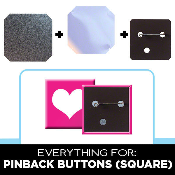 2 x 2 inch square pinback buttons supplies