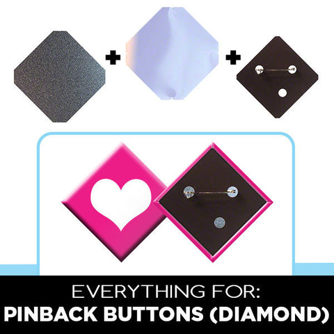 2 x 2 inch diamond pinback buttons
