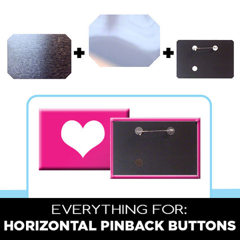 Parts for 2 x 3 inch horizontal rectangle buttons