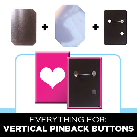 Parts for 2 x 3 inch vertical rectangle buttons