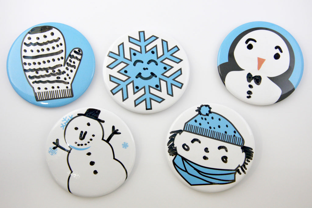 Snowy Faces Dry Erase Buttons