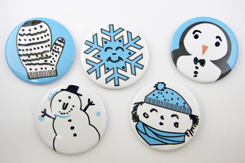 Snowy Faces Dry Erase Ornaments