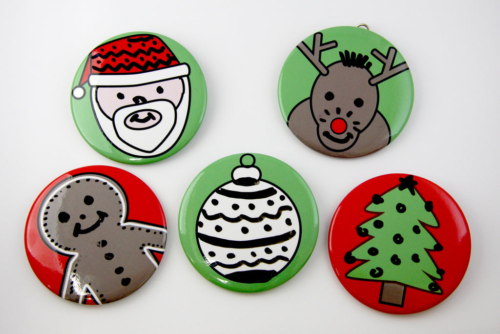 Christmas Faces Dry Erase Buttons