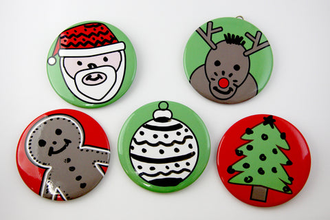 Christmas Faces Dry Erase Magnets