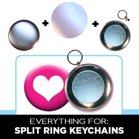 3 inch split ring keychain button parts