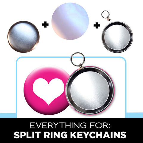 3.5 inch split ring keychain button parts