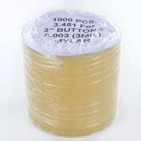 "3 inch Mylar for button making, 3.415"" mylar or 3-29/64"" mylar"