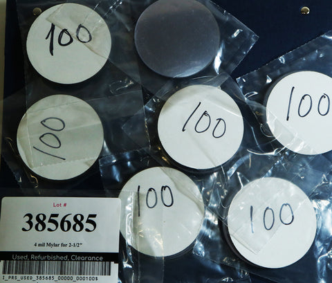 "Special** 4mil Mylar for 2-1/2"" round buttons - pack of 100 extra thick mylar"