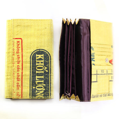 Accordian Pocket Recycled Rice Bag Clutch