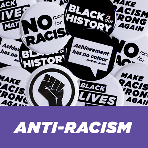 "Anti-Racism Buttons 1-1/4"" Black and White"
