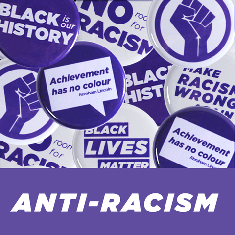 Collection of Anti-Racism buttons and pins from People Power Press