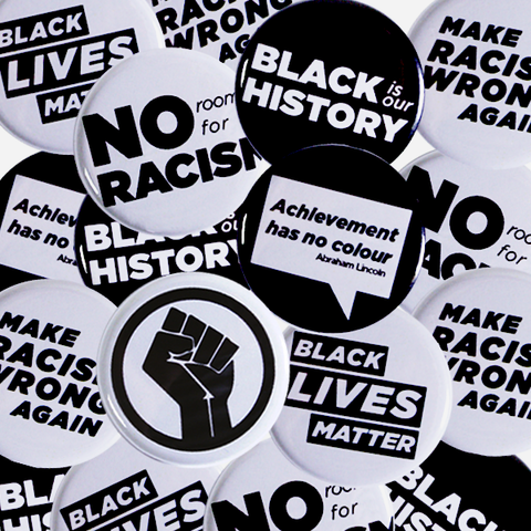 Collection of Anti Racism Pinbacks and Black Power Buttons Ready to Order from People Power Press