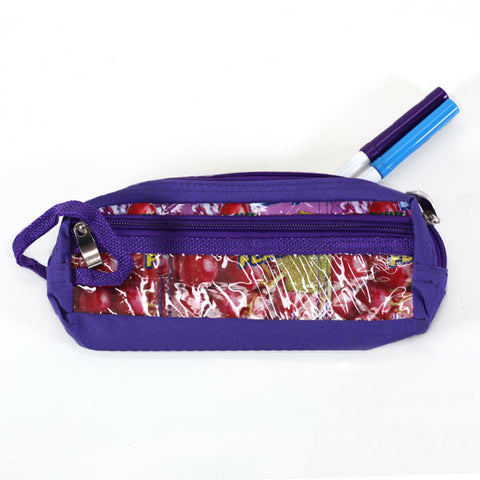 Upcycled Pencil Bag with Pocket Purple