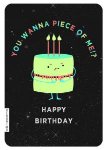 Geronimo funny birthday cake blank card