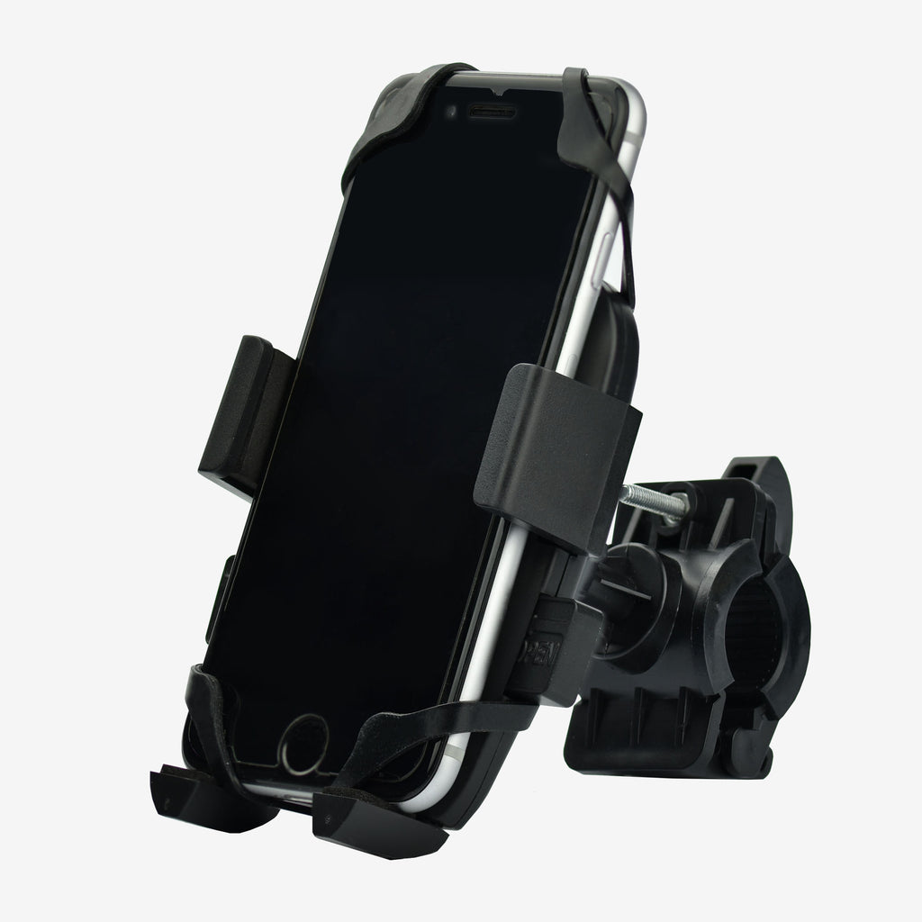 Adjustable phone holder for bicycle handlebars