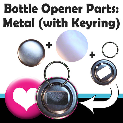 "Parts and component sets for making 2-1/4"" bottle openers with key rings"