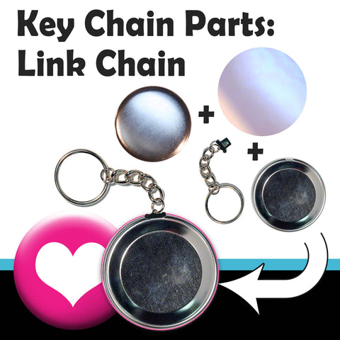 "Buy Link chain keychain supplies for maing 2.25"" key chains with a T150 button press"