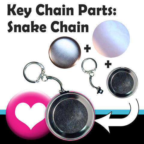 "We sell snake chain keychain supplies for maing 2.25"" key chains with a T150 pinback button machine"