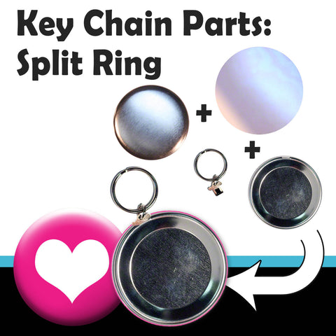 complete split ring parts for making key chains with your T150 Button Maker
