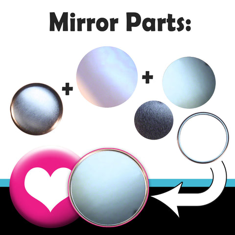 "Complete mirror parts (with collets) for making pocket and purse mirrors with your T150 2.25"" button maker"