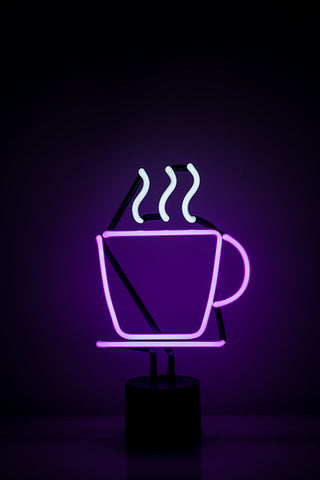 Cool purple steaming coffee cup Neon Light