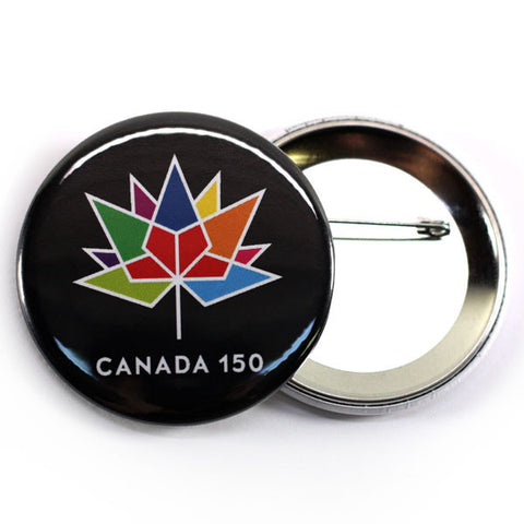 Canada's 150th birthday celebrations button black