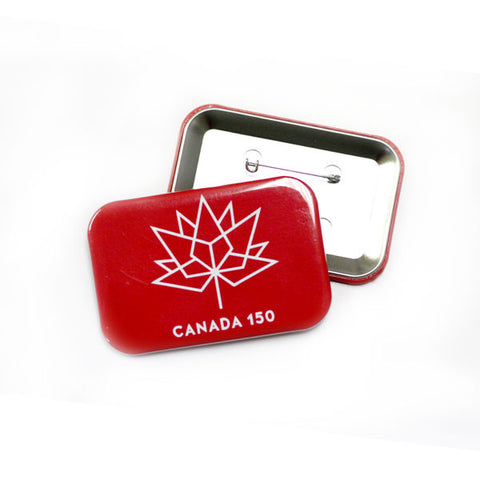 Canada 150 birthday buttons red rectangle