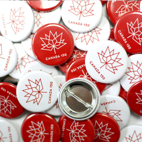Canada Red and White 150 Maple Leaf Logo Button
