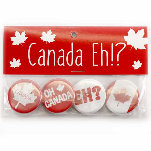 Oh Canada Buttons, Flag, Eh Canada Button Collection