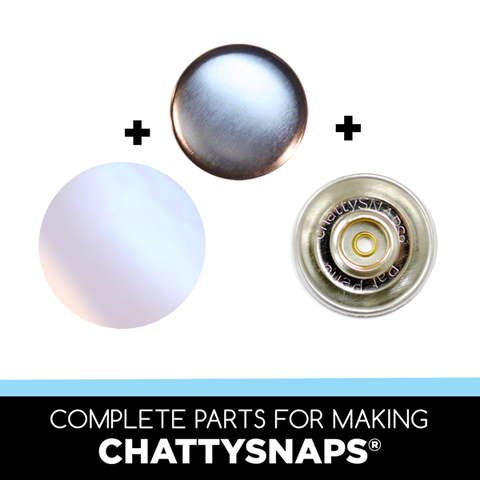all of the parts to make chattysnaps® kid-friendly buttons