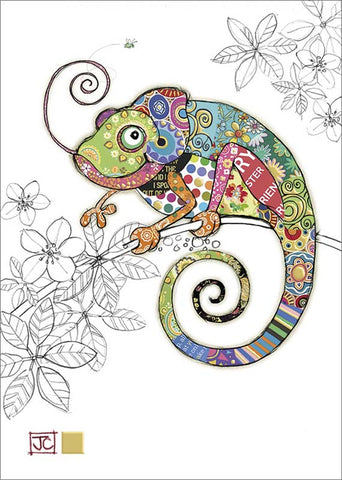 Blank Greeting Card Cosmo Chameleon