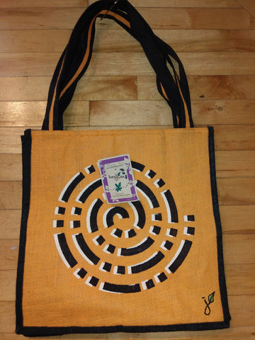 "Large ""Cosmo"" yellow jute tote bag, made from jute fibre."