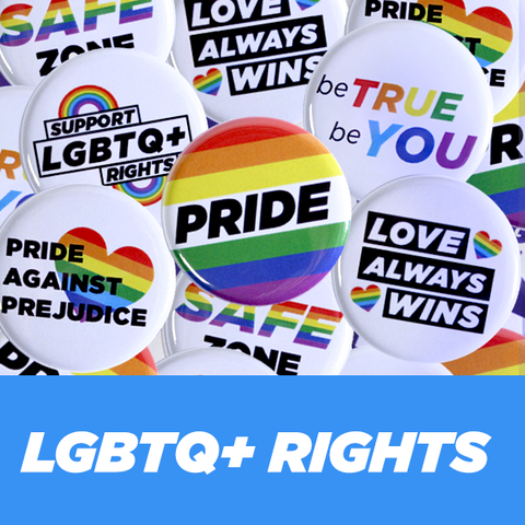 Collection of Made to Order Pride and LGBTQ+ Buttons and Pins
