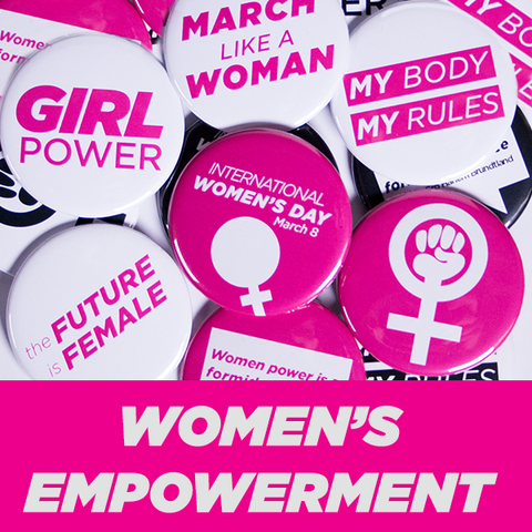 "Women's Empowerment Buttons 1-1/4"" Pink and White"