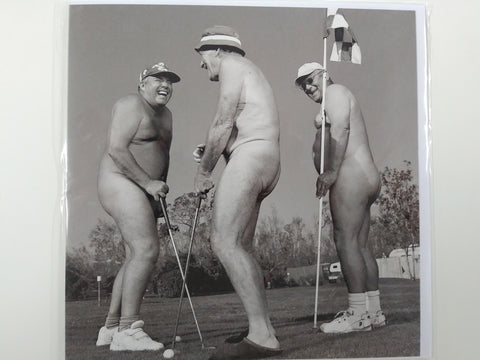 Naked Men Playing Golf 6 x 6 Blank Card
