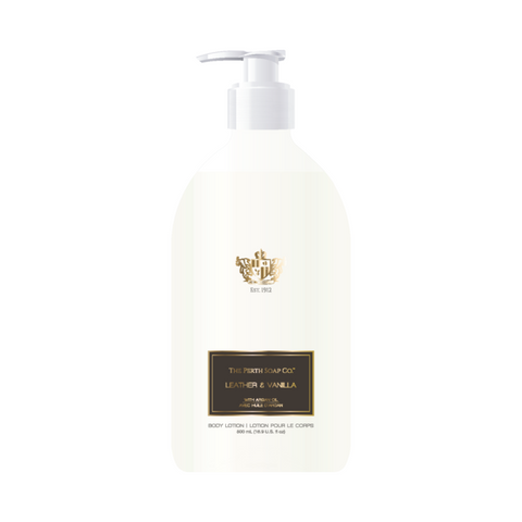 Leather & Vanilla Body Lotion, Fast Absorbing, pH Balanced, enriched with Argan Oil