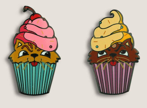Cute Enamel Pins, Kitten Cupcake