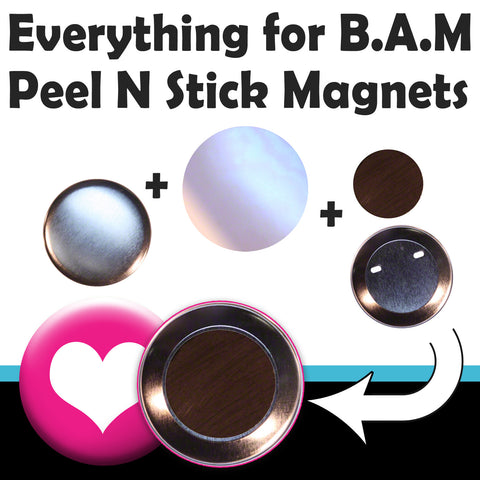 all the button making components you need to make peel n stick fridge magnets with a Badge-A-Minit button badge press