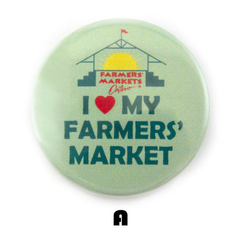 I heart my farmers market button design