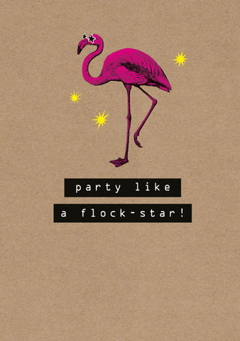 Rock On Flamingo Humour Card